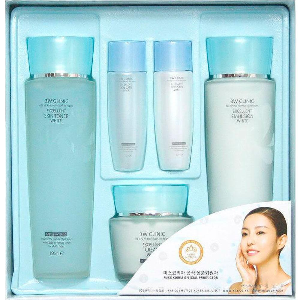 3W CLINIC НАБОР для лица Excelent White Skincare 3 kit Set