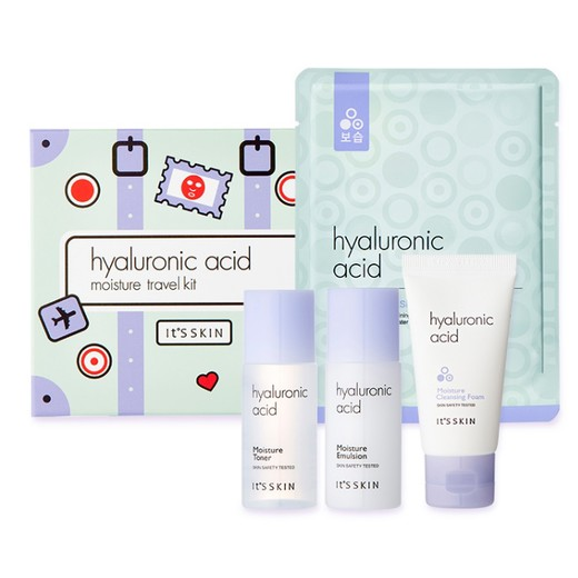 IT'S SKIN Набор миниатюр с гиалуроновой кислотой Hyaluronic Moisture Travel Kit (4pcs-toner, emulsion, foam, mask sheet)